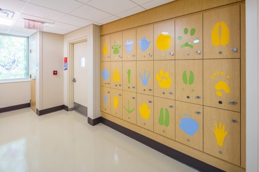 The animal paw prints on the lockers for the patients to change for their dialysis appointments
