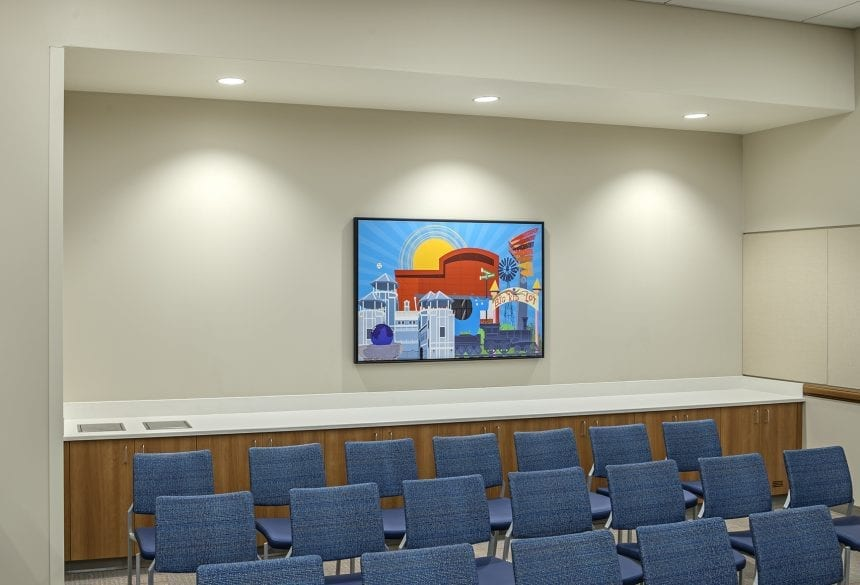 Skyline Art's custom piece by the graphics team shows the monuments and landmarks in Frisco, TX.