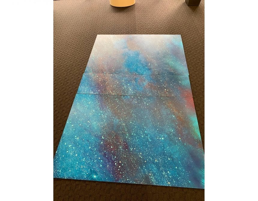 Initial paintings of the sky and galaxy scene