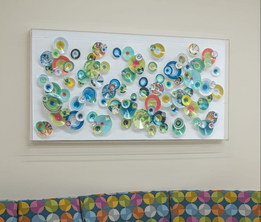 Part of Rebecca Bennett's Meta Series, this art piece contains printed paper and acrylic.
