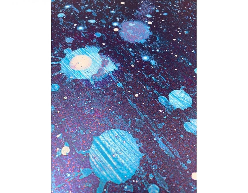 The beautiful painterly quality of the stars in the galaxy on the top of the mural