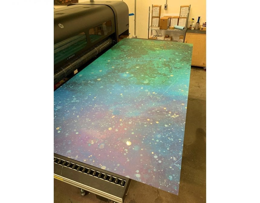 At this point we have scanned and embellished painted panels and begun printing on the aluminum panels.