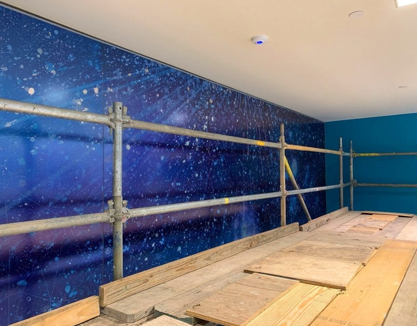 The galaxy scene at ceiling level. It will be seen from the 3rd floor mezzanine