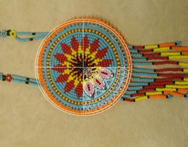 Getting inspiration from Native American ornaments, such as beadwork and weaving