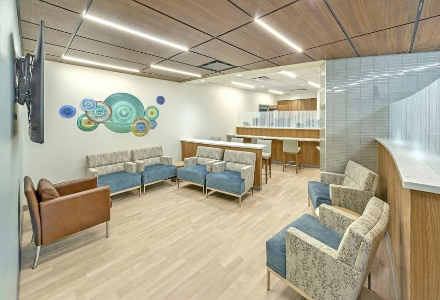 Houston Methodist Willowbrook - Lounge Area. An installation that exemplifies Houston Methodist's I CARE (Integrity, Compassion, Accountability, Respect and Excellence) values. Photo credit: Jud Haggard Photography.