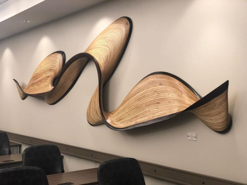 For a big sculpture like this, we made sure to stay within ADA guidelines of 4 inches off the wall.