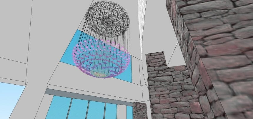 A graphic rendering of the complete suspended sculpture in the given space