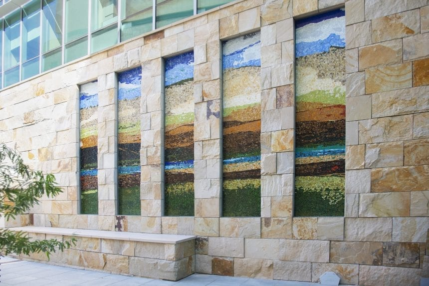 Mosaics by commissioned artist Jonathan Brown
