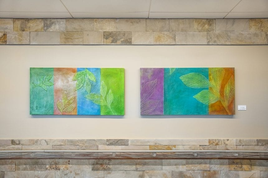 """""""Meditation on Seasons"""" I and II. Acrylic and paper on panel at Fort Bliss."""