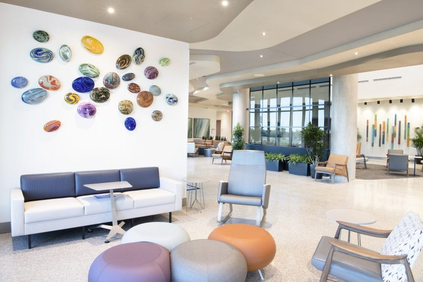 Glass stones by Tim McFadden add dimension and burst of color in the lobby of Methodist Midlothian Medical Center