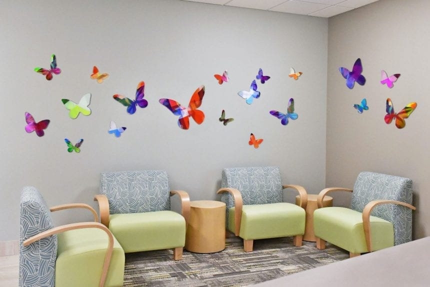 Calming and natural scenes at a main area like a lobby can help reduce anxiety and improve mood.