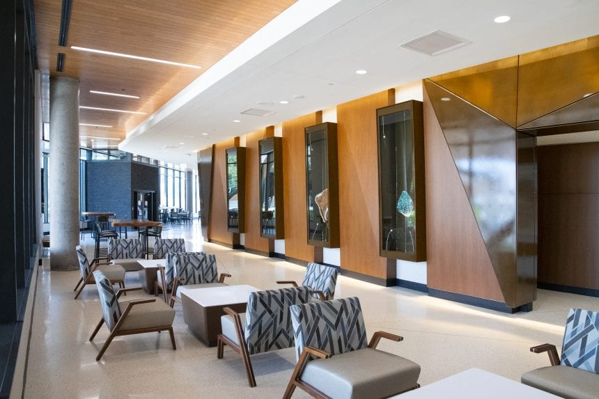 A display of geodes in the main lobby corridor. Putting these natural stones in a high-traffic corridor area elevates the space of the hospital.