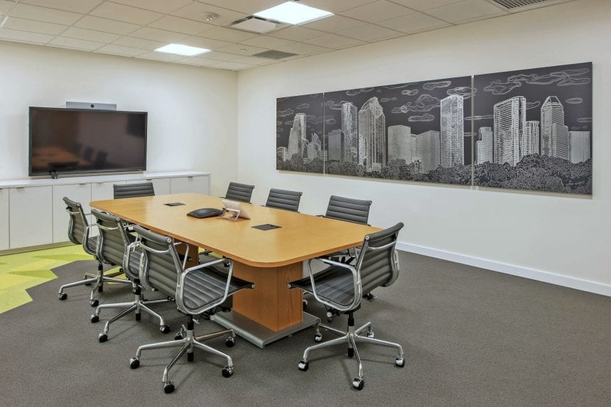 Houston Skyline etched metal piece in the secondary conference room