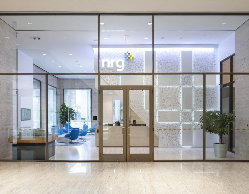 The reception at NRG Energy in its contemporary, yet minimal design.