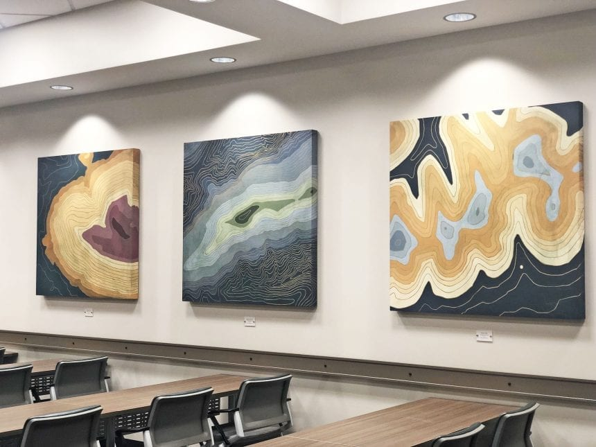 The original acrylic on board works by Henry Membreño, depicting the three notable regions of Talihina's topography.