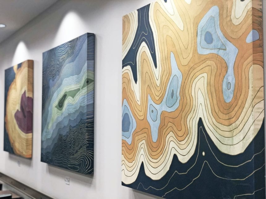 The series accomplished both client goals of highlighting their region and providing modern, abstracted, and colorful works that will stand the test of time.