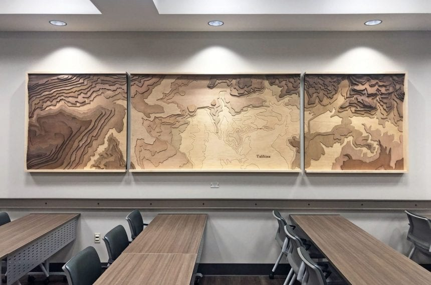 Topography map etched at Skyline Art in the training room at the hospital. The map shows the town of Talihina to scale.