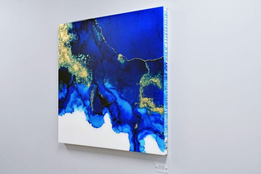 An abstract piece by commissioned resin artist Allison Esley
