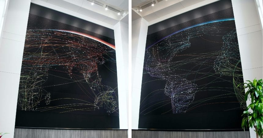 18' x 16' metal wall panel depicting the Eastern and Western hemisphere at the reception of J.A. Billipp. Our ultimate goal was to enhance the space and fulfill the client's mission to reinforce branding in the building that houses multiple businesses dealing in global trade, shipping and logistics.